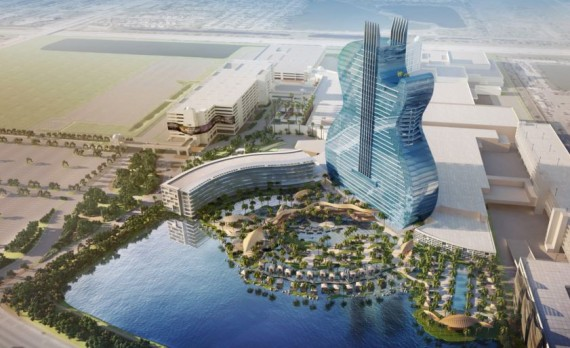 The proposed guitar-shaped hotel that would be built in the Seminole Tribe's Hollywood entertainment complex