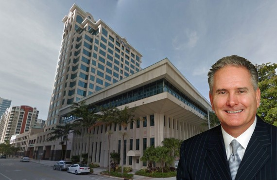 The Suntrust Center office tower in Fort Lauderdale and Larry Richey, Cushman & Wakefield's Florida market leader