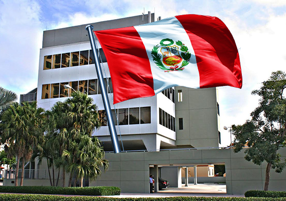 1410 Ponce de Leon and Peruvian flag