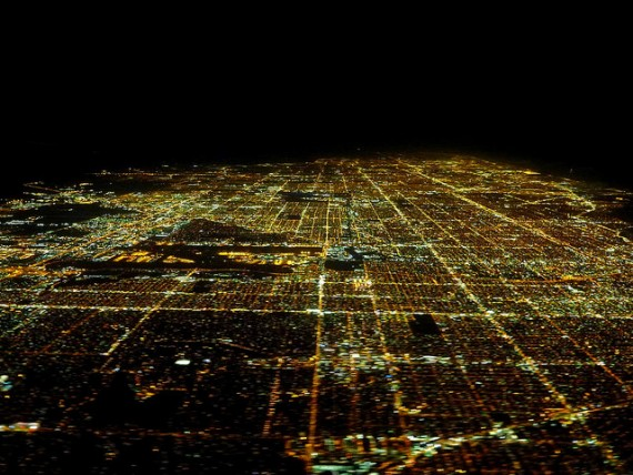 A 2014 nighttime photo of metropolitan Miami from the air (Credit: A. Duarte)