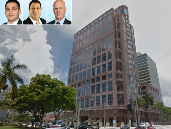 The 200 East Broward office tower and Colliers agents Jarred Goodstein, Alfie Hamilton and Jonathan Kingsley