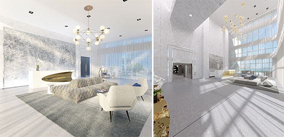 Renderings of Bentley Bay's renovated lobbies
