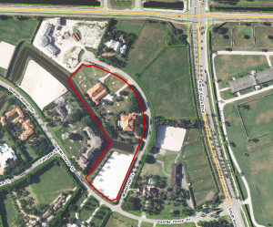 Bill Gates' current ranch outlined and the other properties on Mallet Hill Court
