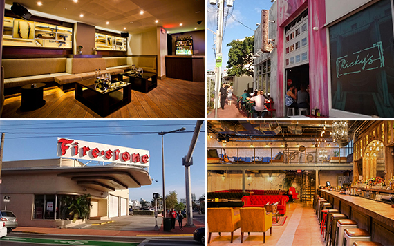 Clockwise from left: Foxhole Lounge, Bodega, Ricky's, and the Firestone