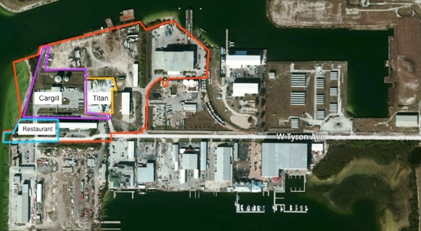 Aerial view of 31-acre Peninsula Point in Tampa