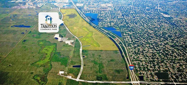 Aerial view of Tradition Commerce Park in Port St. Lucie