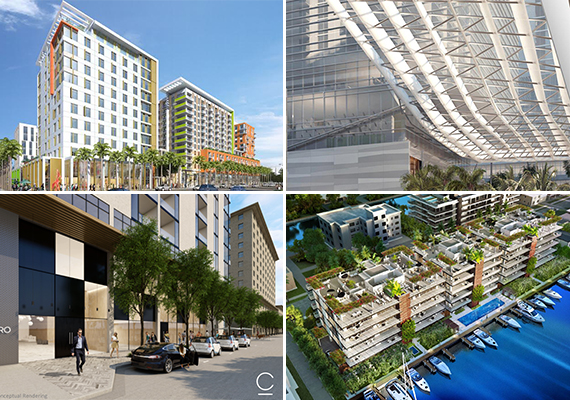 Clockwise from left: Hilton Garden Inn, Brickell City Centre's climate ribbon, AquaMar and Centro