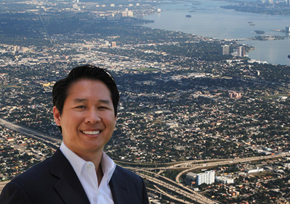 Hue Chen and an aerial view of Miami-Dade County