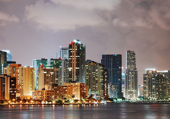 Downtown Miami's skyline taken from the Rickenbacker Causeway (Credit: Wyn Van Devanter)