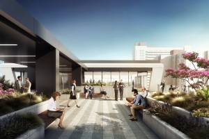 Rendering of conference center and amenity deck