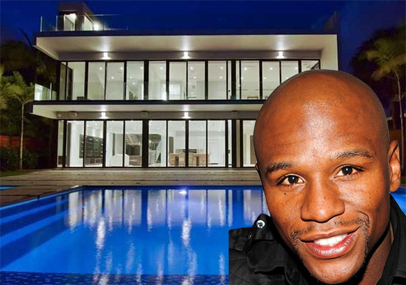 5501 Pine Tree Drive (Inset: Floyd Mayweather, via creativecommons)
