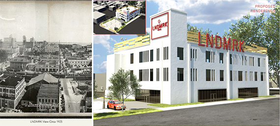 A photo from 1925 and a rendering of the proposed redevelopment