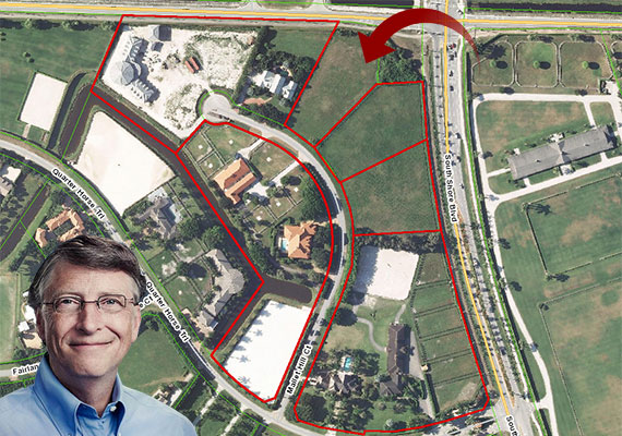 An aerial view of Bill Gates' holdings on Mallet Hill Court with an arrow pointing to last remaining parcel (Inset: Bill Gates)