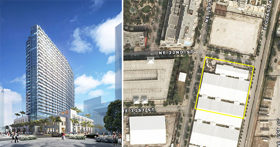 Rendering of Midtown Six and an aerial of the development site