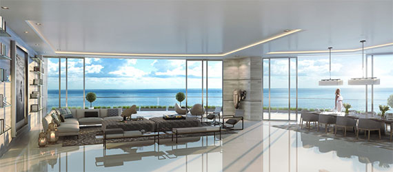 Interior rendering of a Paramount penthouse