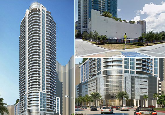 Renderings of 100 Las Olas and a street view of the land