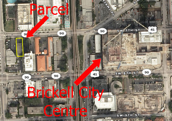 Aerial of the parcel and Brickell City Centre's construction site