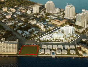 The Adagio development lot (in red) and a rendering of the Gale (in white)