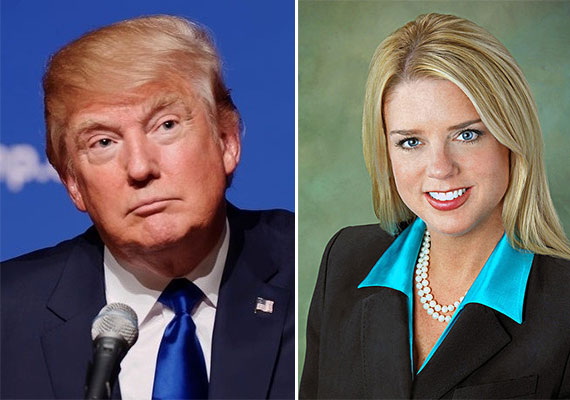 Donald Trump, left, and Pam Bondi, right