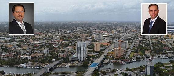 Aerial view of Little Havana (Credit: B137) (Inset from left: Howard Cohen, CEO of Atlantic | Pacific Cos., and Gil Hermon, managing member of Blue Arch Advisors)