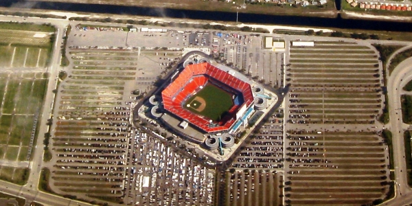 Aerial view of Miami Dolphins' stadium when the Marlins baseball team played there, too
