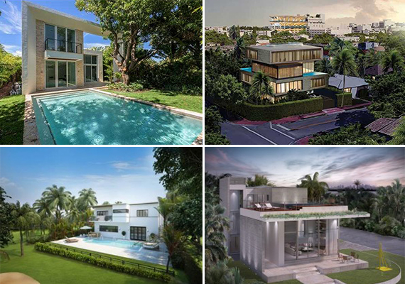 Clockwise from left: Renderings of 335 West 46th Street, 1445 North Bay Road, 121 West San Marino and 5334 La Gorce Drive