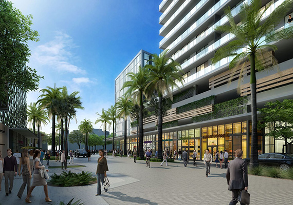 Rendering of the retail at Aventura ParkSquare