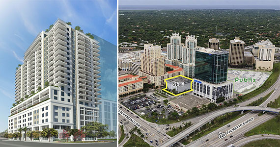 Rendering of Overture Dadeland, left, and an aerial view of 7400 Southwest 88th Street, right