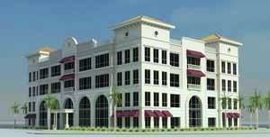 Rendering of an office building at PGA Station in Palm Beach Gardens