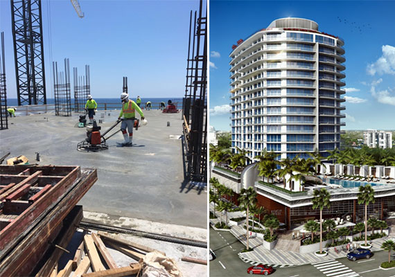 Workers smoothing concrete on the project's ninth floor, left, and a rendering of the finished Paramount Fort Lauderdale Beach, right