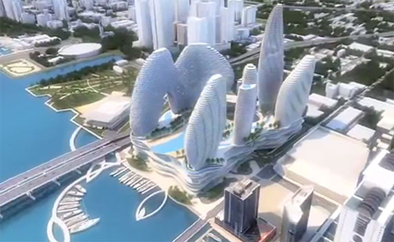 Early rendering of Resorts World Miami that shows a marina component