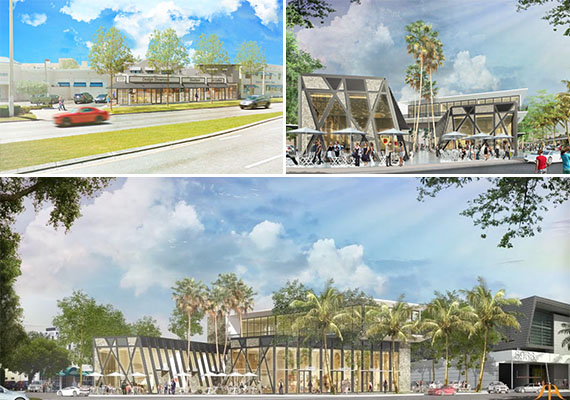 Clockwise from left: Renderings of 5887 Sunset Drive and 5958 South Dixie Highway