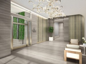 Rendering of the medical wellness lobby at Aventura ParkSquare