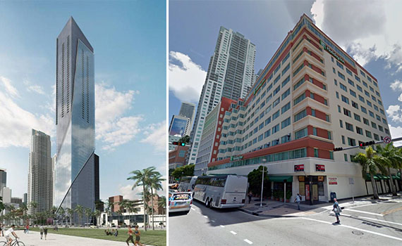 A former rendering of the site and the Holiday Inn (via Miami Herald/Google)