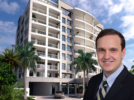 Rendering of 327 Royal Palm (Inset: Ignacio Diaz, operating manager of Group P6)