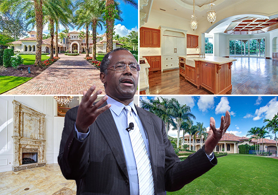 Ben Carson (Credit: Gage Skidmore) and his new home in Palm Beach Gardens