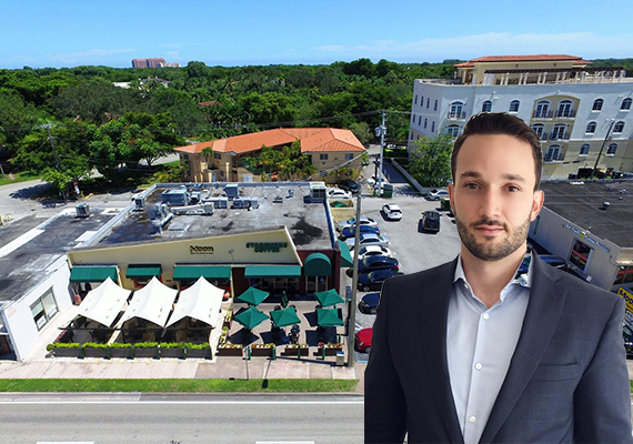Aerial view of the Coral Gables property and listing agent Marcos Puente