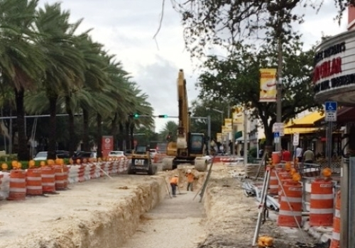 Streetscape construction work on Miracle Mile in downtown Coral Gables