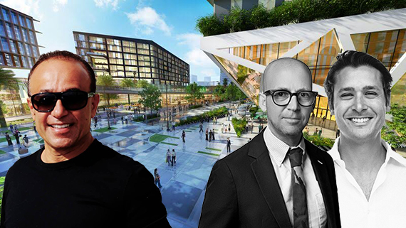 Rendering of Mana Wynwood (Inset from left: Moishe Mana, David Polinsky and Joe Furst)