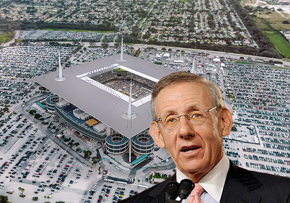 Miami Dolphins stadium aerial (Credit: NewMiamiStadium.com) and Stephen Ross