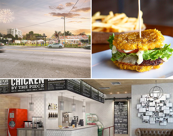 Clockwise from left: the Wynwood Yard, a Pincho Factory burger, a rendering of Spring Chicken in Coral Gables