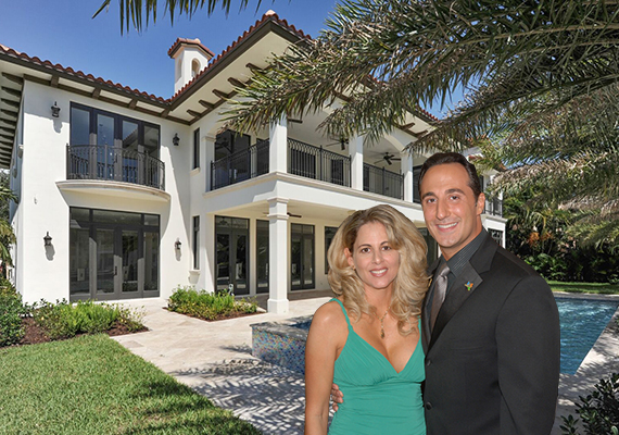 156 Fiesta Way in Fort Lauderdale. (Inset: Gina and Anthony Russo)