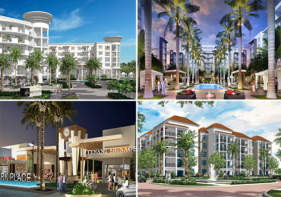 Clockwise from top left: Renderings of Altis Boca Raton, Allure Boca Raton, 850 Boca Apartments and Schmier and Feurring's Park Place