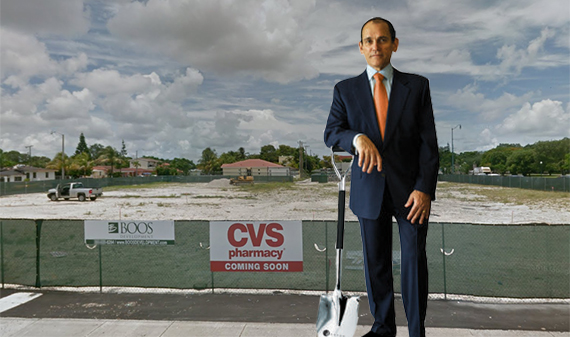 The CVS development site in Little Havana (Inset: Henry Torres)