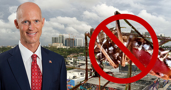 Aerial view of Wynwood, Gov. Rick Scott and a Mosquito