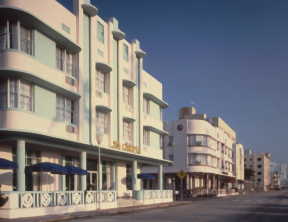 A historical photo of the Carlyle and Cardozo hotels on Ocean Drive in Miami Beach.