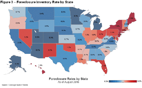 Map of foreclosure inventory by state