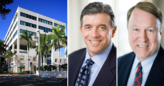 One of two buildings at Cypress Park west and Stockbridge Capital Group Executive Managing Directors Terry Francher and Sol Raso