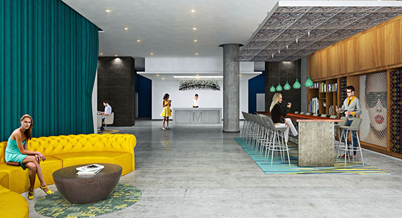 Rendering of Midtown Five lobby