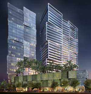 A rendering of One West Palm, an 830,000-square-foot, mixed-use development project